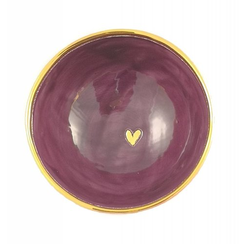 Sophie Smith Ceramics Corazón pequeño cuenco de cerámica púrpura 009