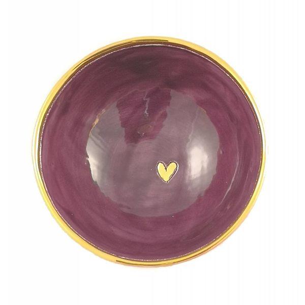 Corazón pequeño cuenco de cerámica púrpura 009
