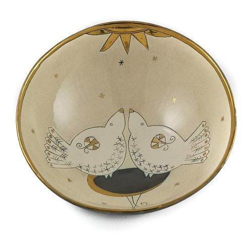 Sophie Smith Ceramics Cuenco de cerámica grande dos pájaros y sol 010
