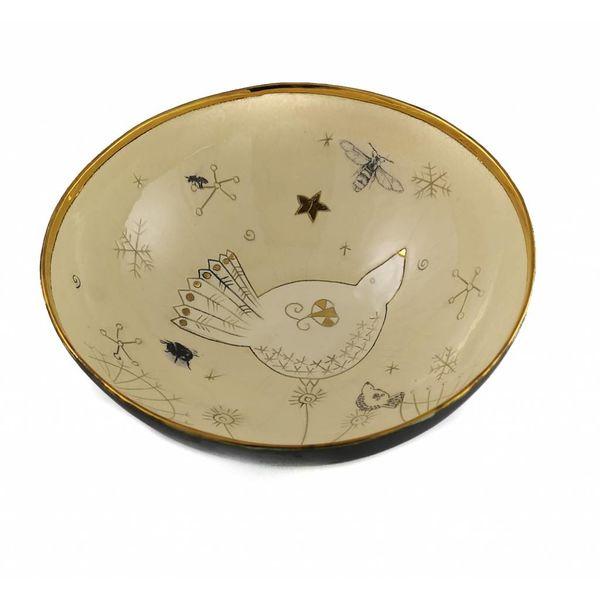 Bird and bee large ceramic bowl