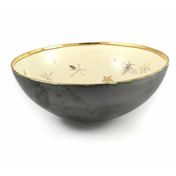 Cuenco de cerámica grande para pájaros y abejas