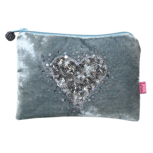 LUA Velvet purse with sequined heart
