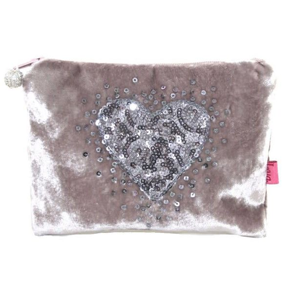 Velvet purse with sequined heart