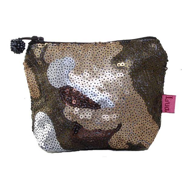 Sequined  zip mini purse