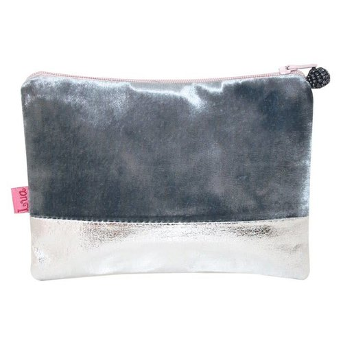 LUA Velvet zip purse metalic band