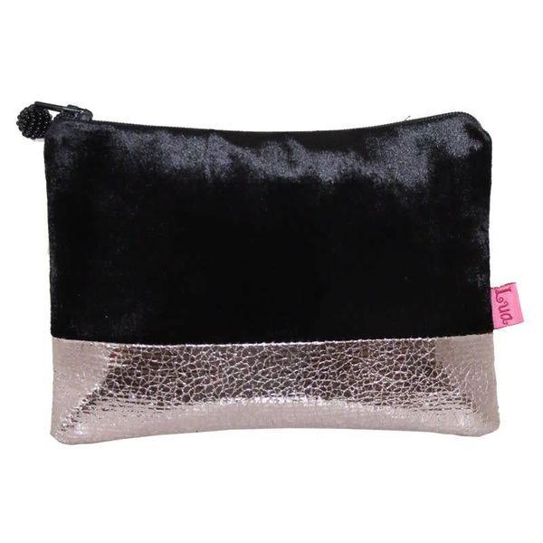Velvet zip purse metalic band