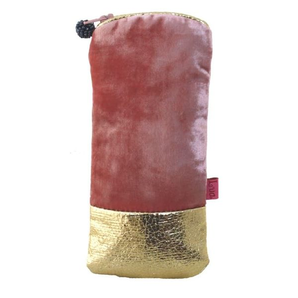 Velvet zip glasses case metalic band