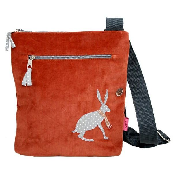 Messanger bag coruroy with appliqued hare