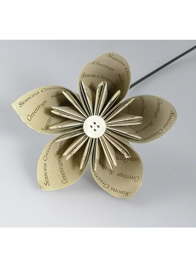 Seasons greetings gold  paper flower with pearl button 24