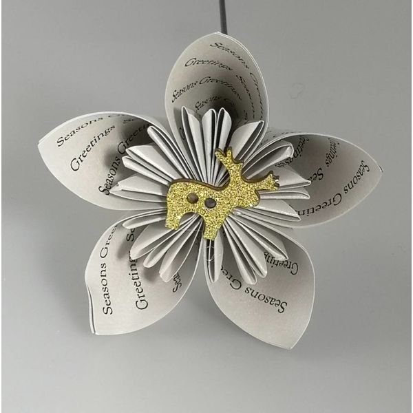 Seasons greetings silver paper flower with deer 25