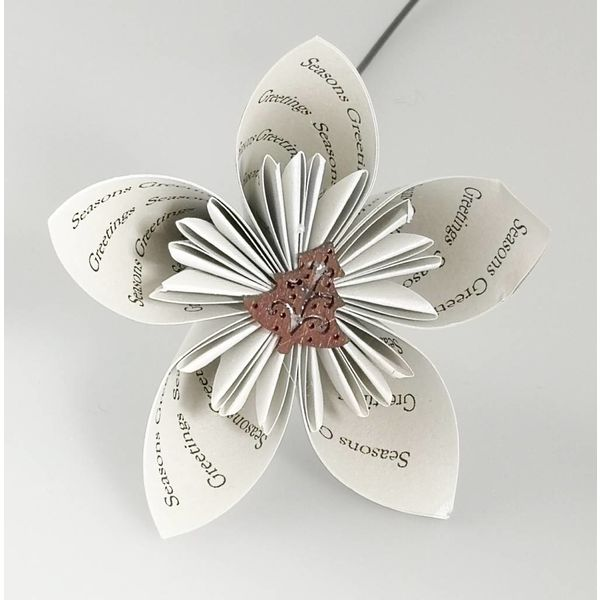 Seasons greetings silver paper flower with tree 26