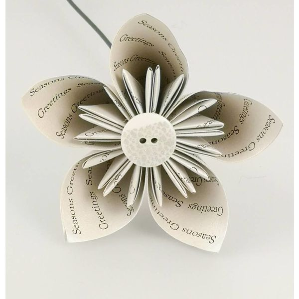 Seasons greetings silver paper flower withbutton 28