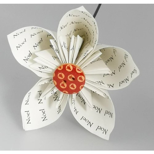 Paris Cheetham Noel white paper flower with red button 30