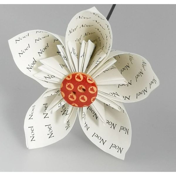 Noel white paper flower with red button 30