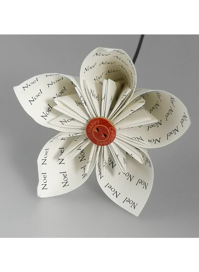 Noel white paper flower with Xmas  red button 32