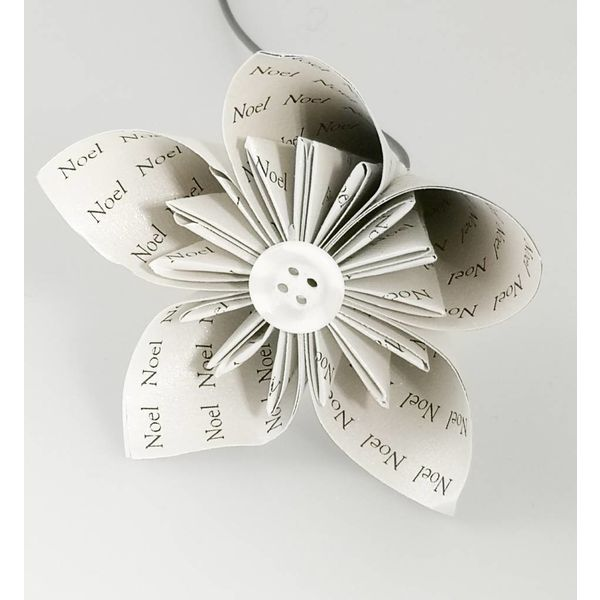 Noel silver paper flower with Xmas silver  button 31