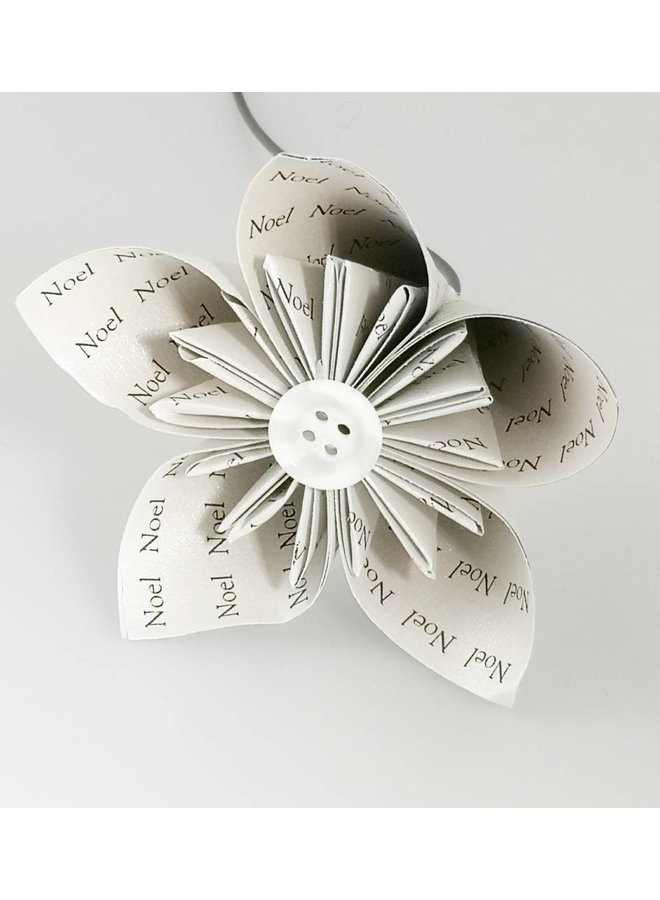 Noel silver paper flower with silver  button 33