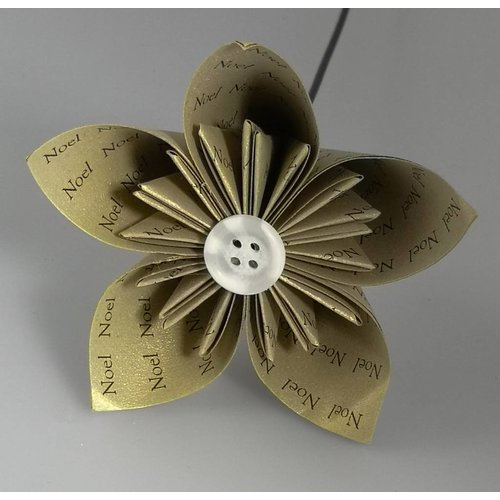 Paris Cheetham Noel gold paper flower with silver  button 34