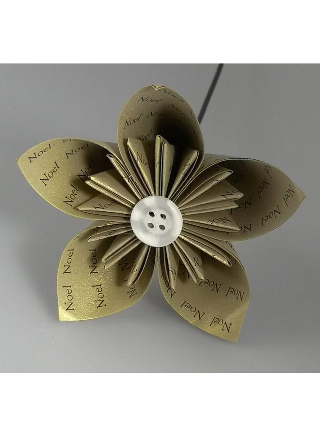 Noel gold paper flower with silver  button 34
