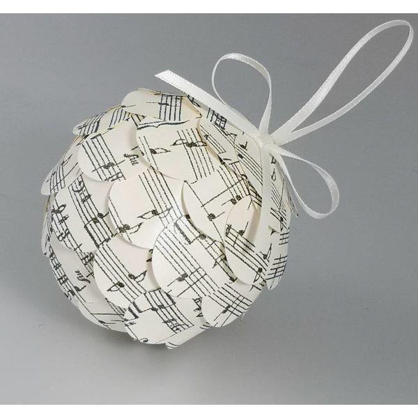 Musical cream  paper bauble 39