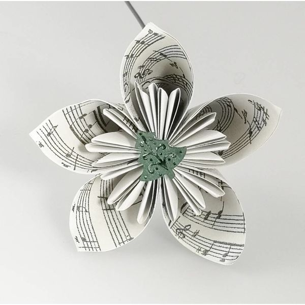 Musical silver paper flower with tree 36