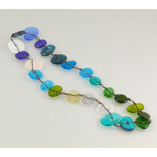 Kim Bramley Colourscape pebble necklace Dichroic blues / green 11