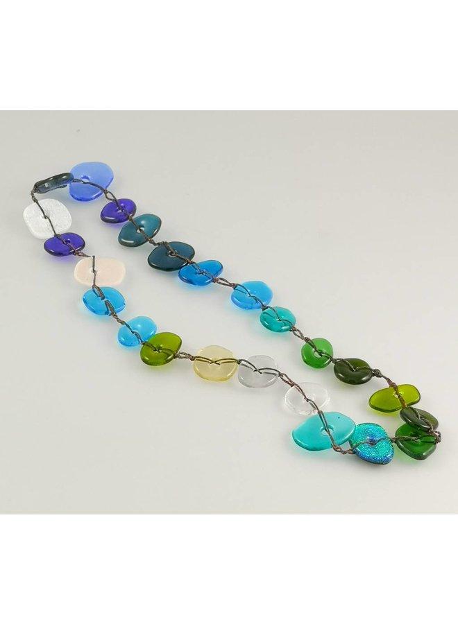Colourscape pebble necklace Dichroic blues / green 11