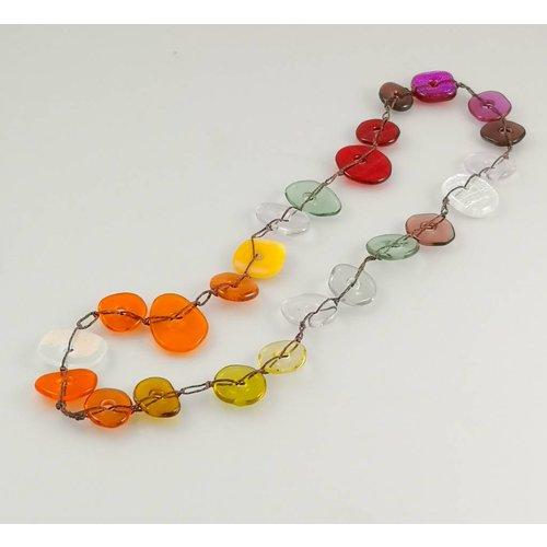 Kim Bramley Colourscape pebble necklace Dichroic reds 12