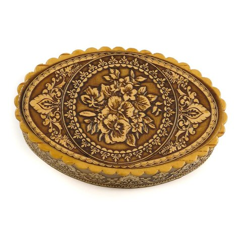 Russian Gifts Birch bark box Flowers Oval 16
