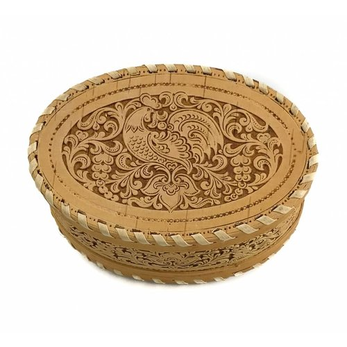 Russian Gifts Cockeral  Oval Stitched  Birch bark box     17