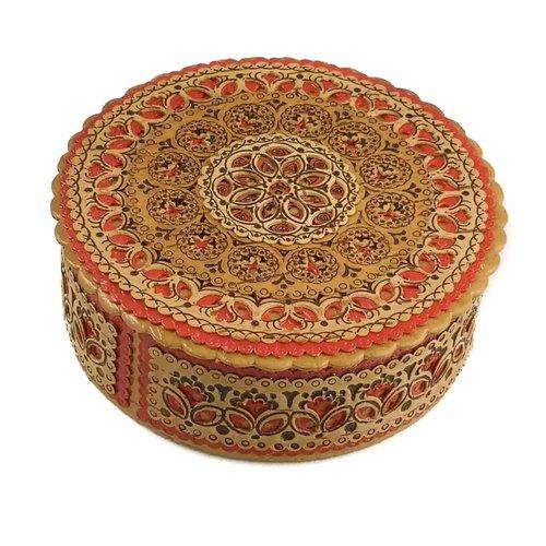 Russian Gifts Caja de corteza de abedul plana diseño rojo 18