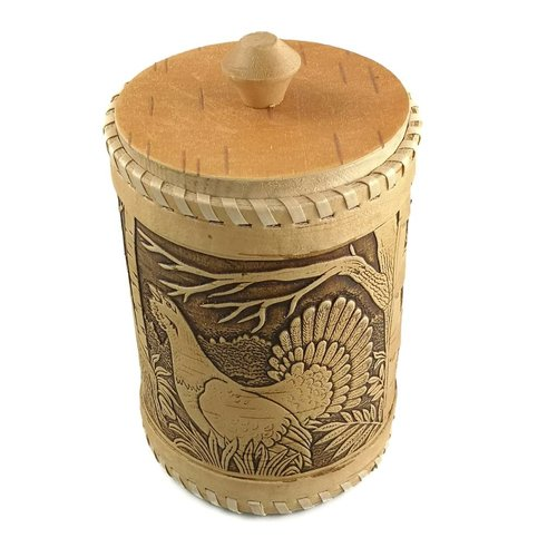 Russian Gifts Tall Birch bark box Capercaillie 20