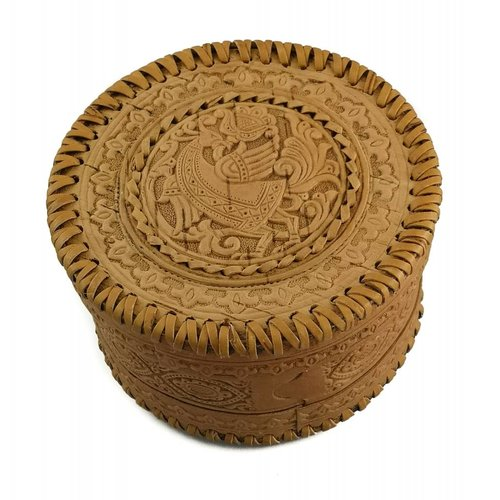 Russian Gifts Round  stitched Birch bark box Celtic  design 21