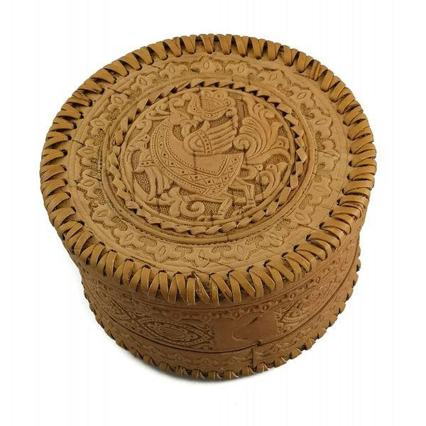 Round  stitched Birch bark box Celtic  design 21