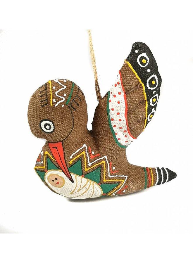 Handgemachte Dekoration des Storchs und des Babys