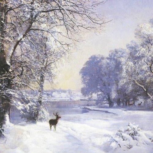 Artists Cards Hirsch auf Schnee von Lundby x5 Xmas Charity-Karten 140x140mm