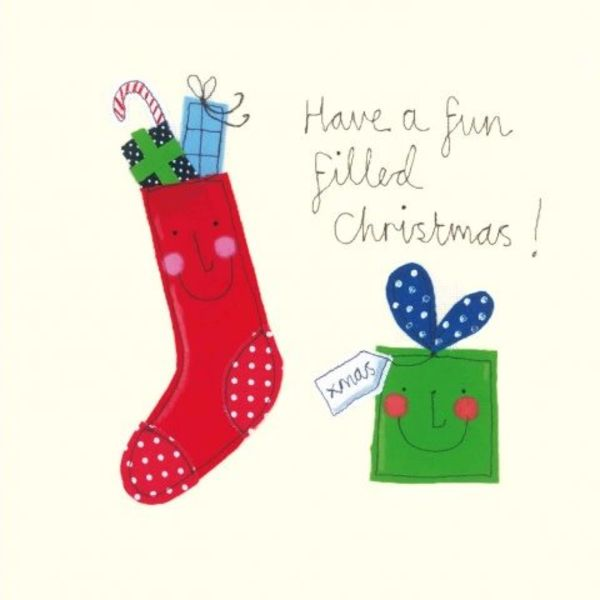 Fun Filled Chrismas by Sophie Harding  x5 Xmas Charity cards 140x140mm