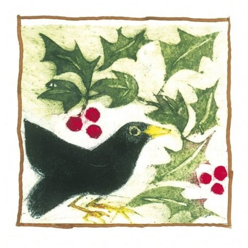 Artists Cards Blackbird and Berries by Linda Craig  x5 Xmas Charity cards 140x140mm