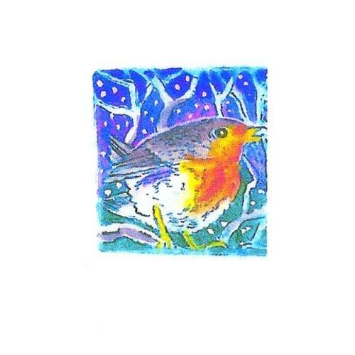Artists Cards Frosy Robin por Hilary Gibson x5 Tarjetas de caridad de Navidad 100x160mm