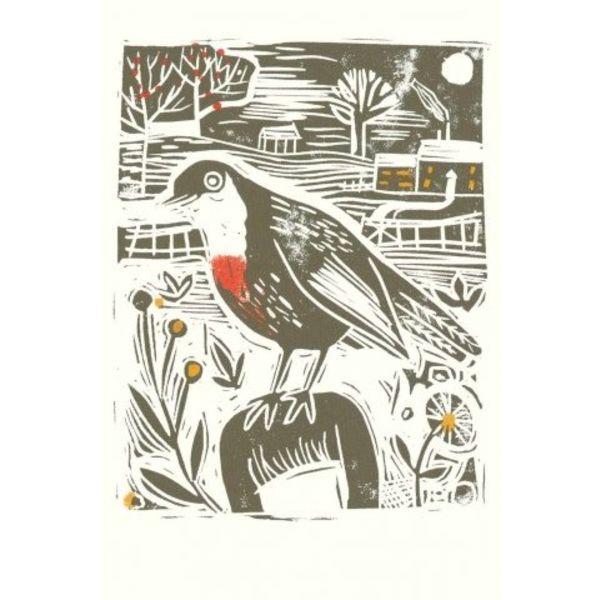 Cock Robin by Sarn Wilson x5 Xmas Charity cards 100x160mm