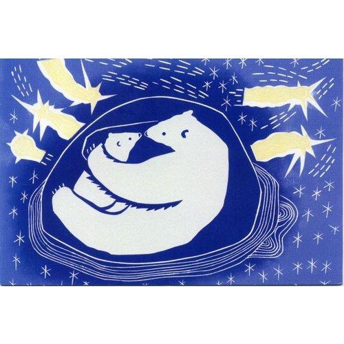 Artists Cards Bear-Hug by Luna North x5 tarjetas de caridad de Navidad 100x160mm