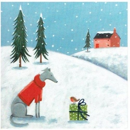 Artists Cards Warm Wishing by Sohpie Harding x5 charity Xmas cards 14cm x 14cm
