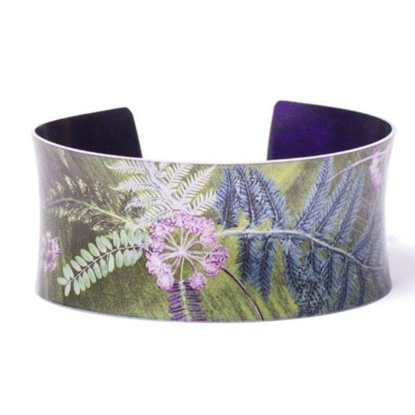 Cuff bracelet  lime green botanical design