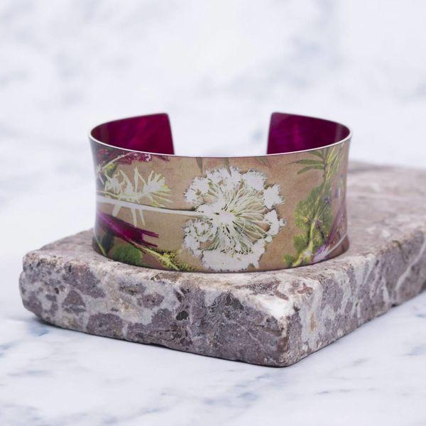 Cuff bracelet tropical dusk botanical design 02