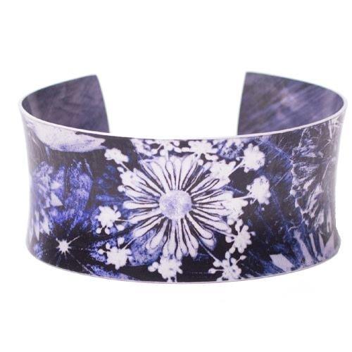 Gillian Arnold Cuff bracelet blue landscape botanical design 04