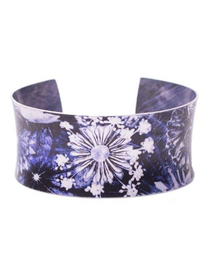 Cuff bracelet blue landscape botanical design 04