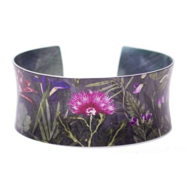 Cuff bracelet midnight bloom botanical design 05