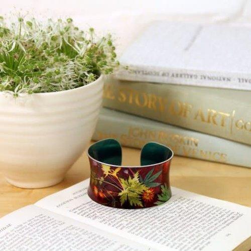 Gillian Arnold Cuff bracelet  Exotic tropical wine botanical design 07
