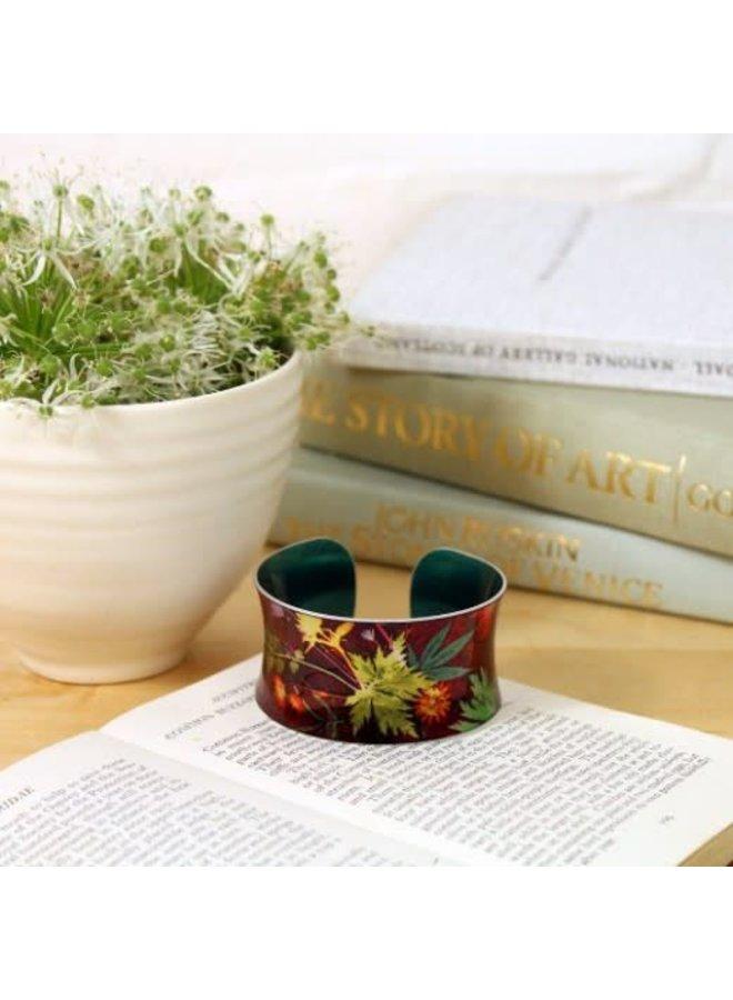 Cuff bracelet  Exotic tropical wine botanical design 07