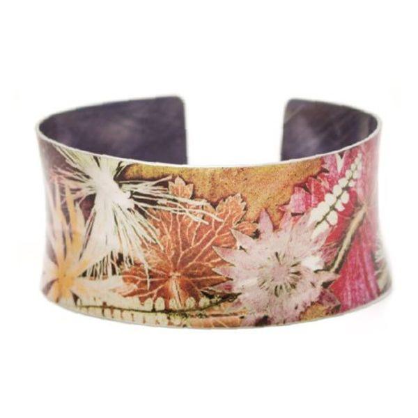 Cuff bracelet  Autumn botanical design 06